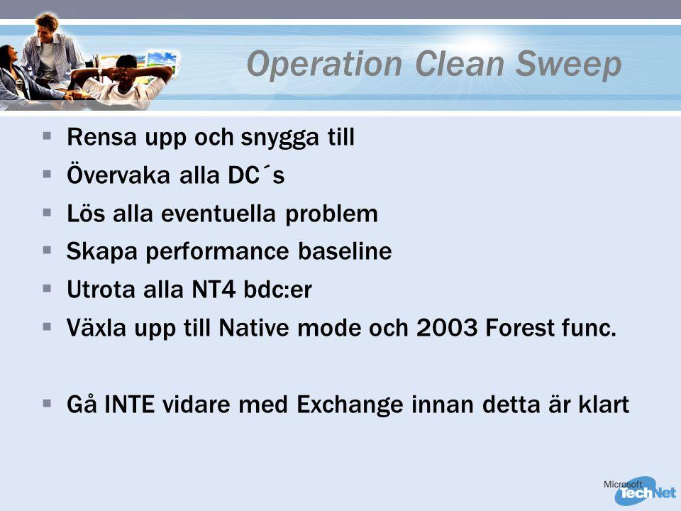 Operation Clean Sweep  Rensa upp och snygga till  Övervaka alla DC´s  Lös alla eventuella problem  Skapa performance baseline  Utrota alla NT4 bdc:er  Växla upp till Native mode och 2003 Forest func.