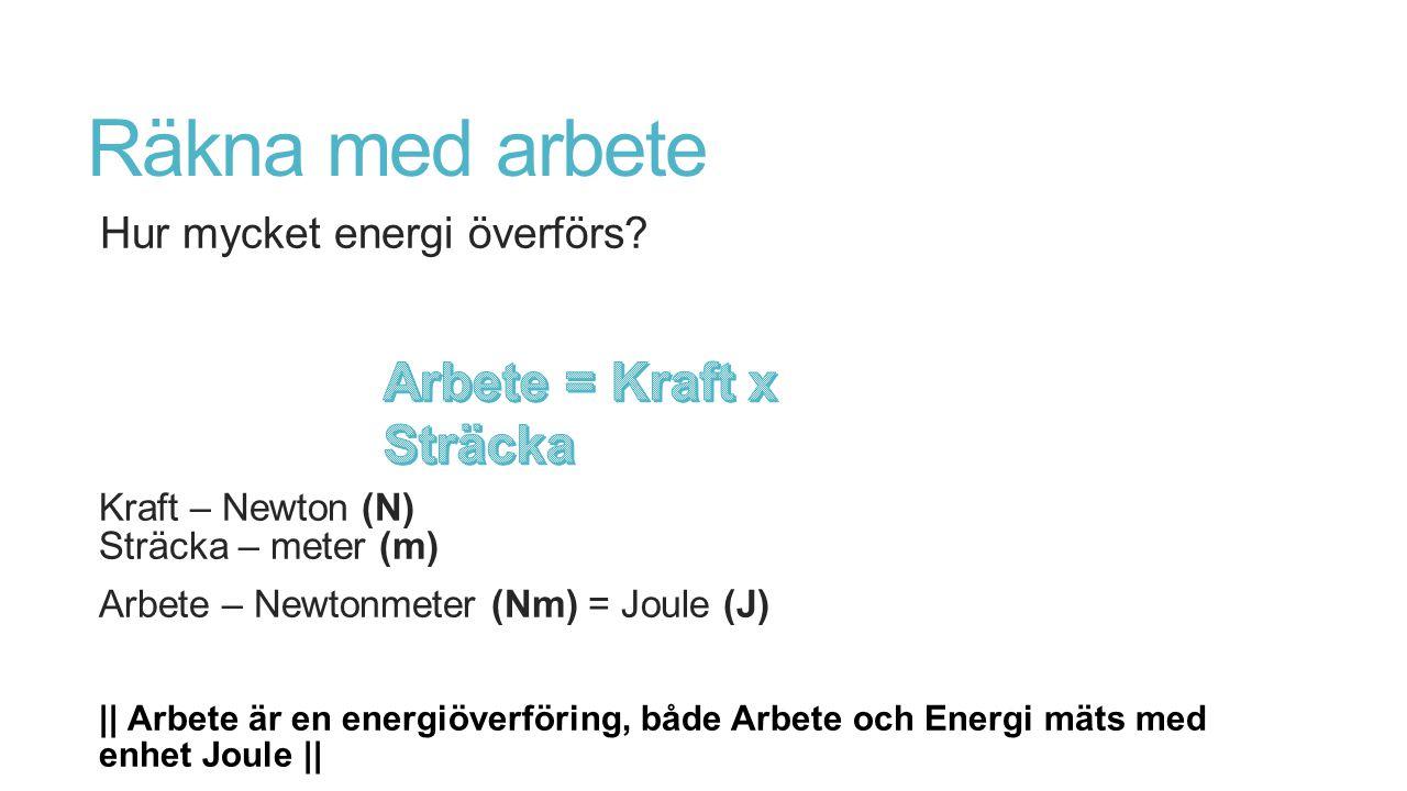 Räkna med arbete Hur mycket energi överförs? Kraft – Newton (N) Sträcka – meter (m) Arbete – Newtonmeter (Nm) = Joule (J) || Arbete är en energiöverfö