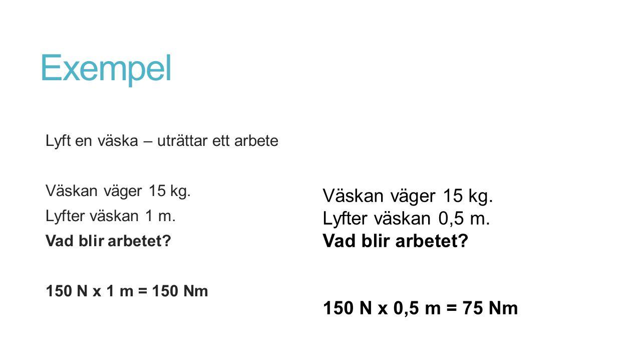 Exempel Lyft en väska – uträttar ett arbete Väskan väger 15 kg. Lyfter väskan 1 m. Vad blir arbetet? 150 N x 1 m = 150 Nm Väskan väger 15 kg. Lyfter v