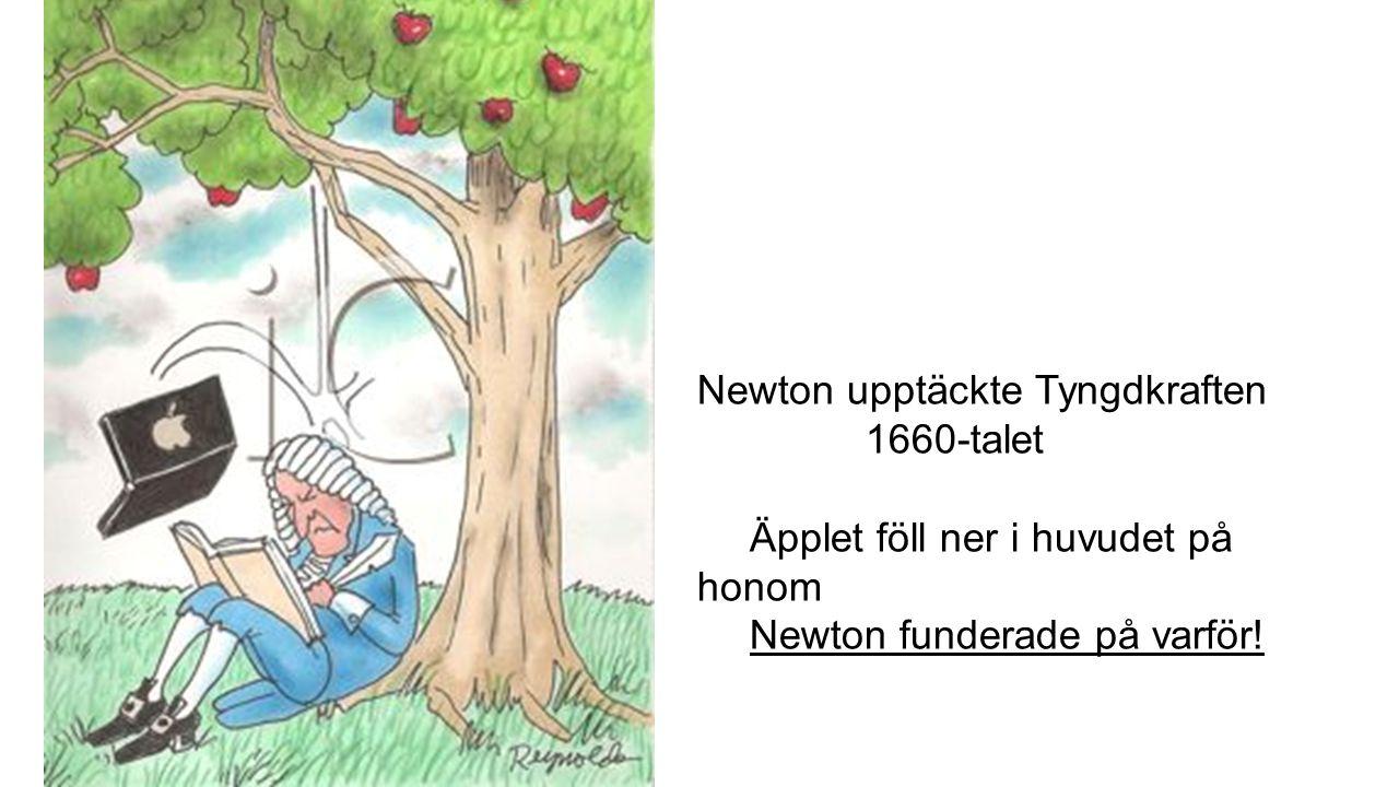 Newton upptäckte Tyngdkraften 1660-talet Äpplet föll ner i huvudet på honom Newton funderade på varför!