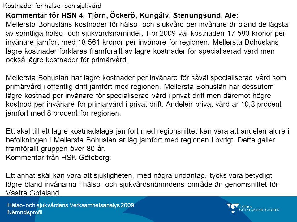 Hälso- och sjukvårdens Verksamhetsanalys 2009 Nämndsprofil Kommentar för HSN 4, Tjörn, Öckerö, Kungälv, Stenungsund, Ale: Mellersta Bohusläns kostnader för hälso- och sjukvård per invånare är bland de lägsta av samtliga hälso- och sjukvårdsnämnder.