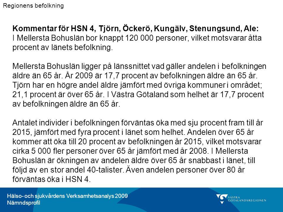 Hälso- och sjukvårdens Verksamhetsanalys 2009 Nämndsprofil Kommentar för HSN 4, Tjörn, Öckerö, Kungälv, Stenungsund, Ale: I Mellersta Bohuslän bor knappt 120 000 personer, vilket motsvarar åtta procent av länets befolkning.