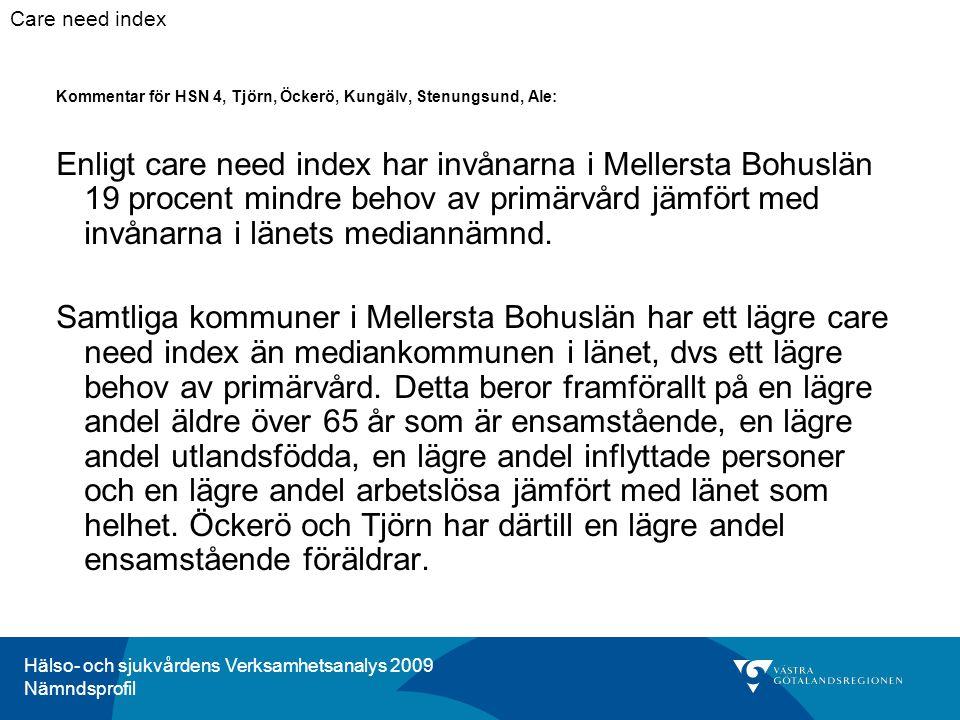 Hälso- och sjukvårdens Verksamhetsanalys 2009 Nämndsprofil Kommentar för HSN 4, Tjörn, Öckerö, Kungälv, Stenungsund, Ale: Enligt care need index har i