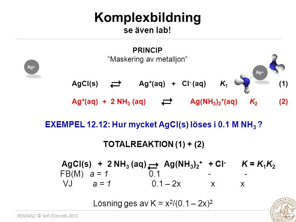 KEMA02/ © Sofi Elmroth 2011 Komplexbildning se även lab! AgCl(s) Ag + (aq) + Cl - (aq) K 1 (1) Ag + (aq) + 2 NH 3 (aq) Ag(NH 3 ) 2 + (aq)K 2 (2)   