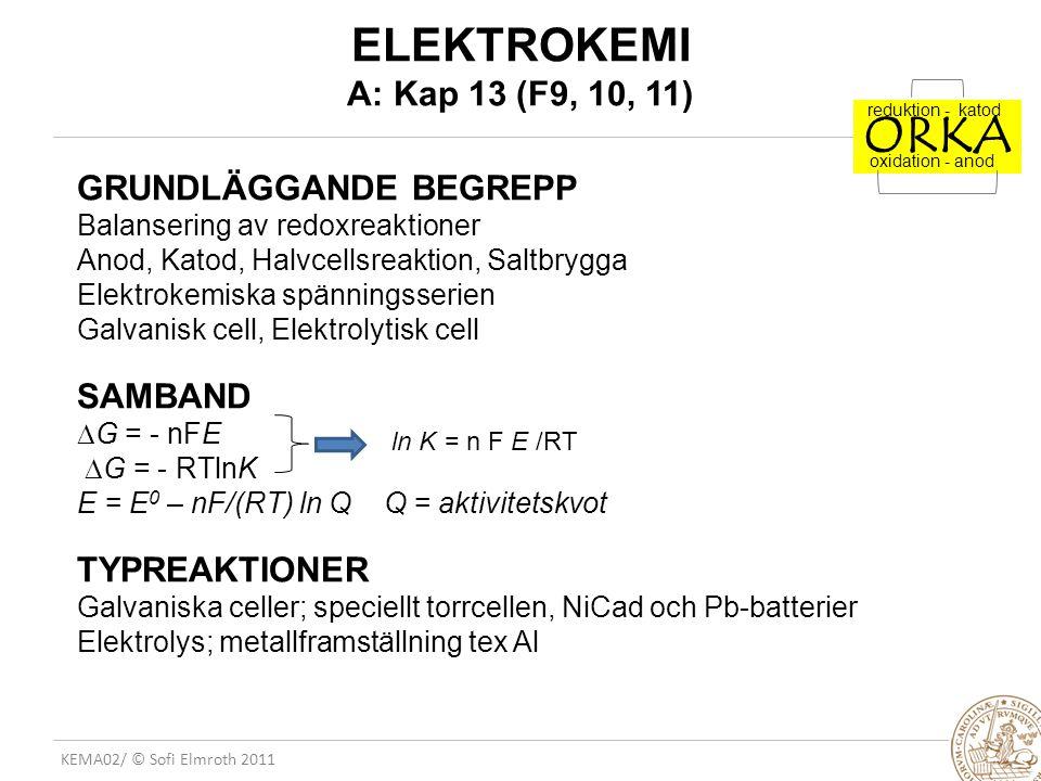 KEMA02/ © Sofi Elmroth 2011 ELEKTROKEMI A: Kap 13 (F9, 10, 11) GRUNDLÄGGANDE BEGREPP Balansering av redoxreaktioner Anod, Katod, Halvcellsreaktion, Sa