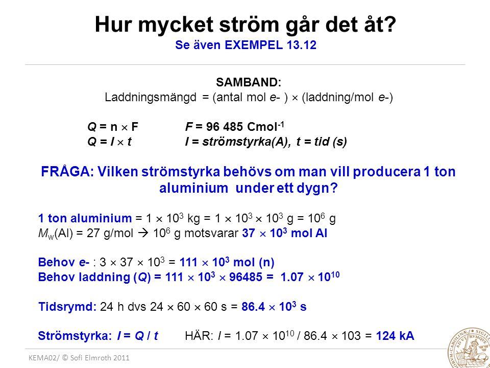 KEMA02/ © Sofi Elmroth 2011 Hur mycket ström går det åt? Se även EXEMPEL 13.12 SAMBAND: Laddningsmängd = (antal mol e- )  (laddning/mol e-) Q = n  F