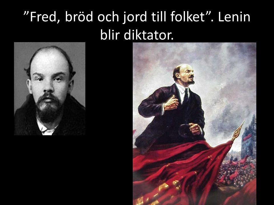"""""""Fred, bröd och jord till folket"""". Lenin blir diktator."""