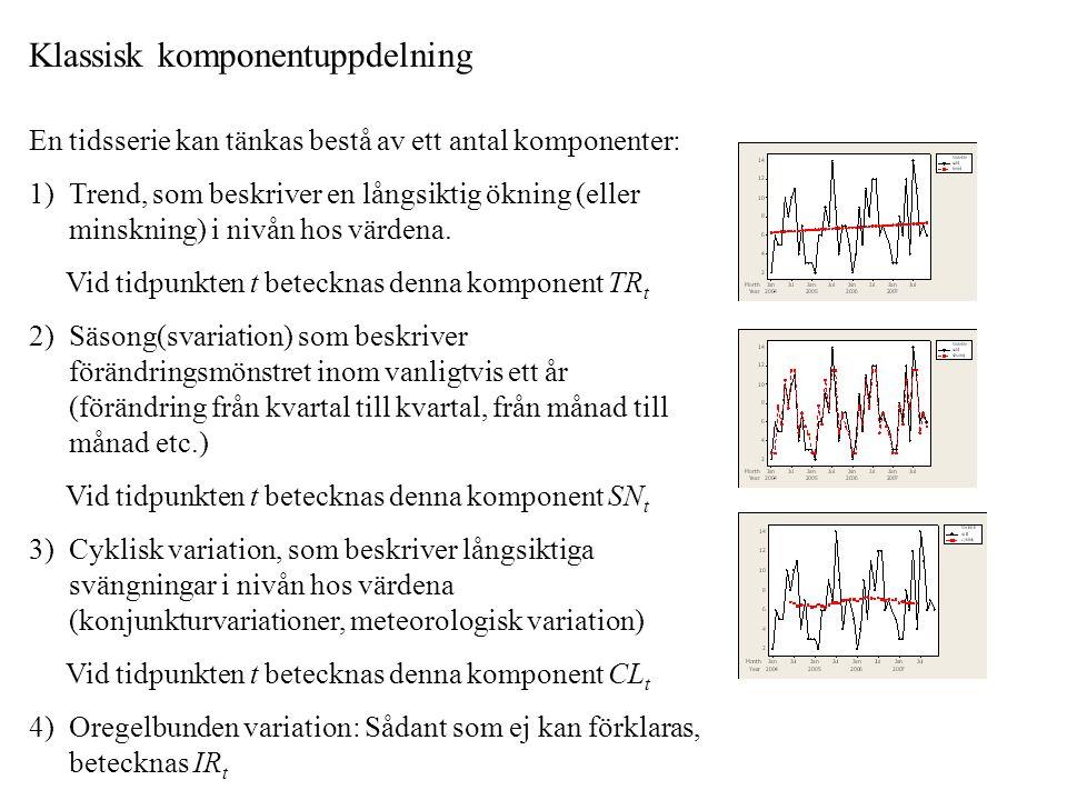 En tidsserie kan tänkas bestå av ett antal komponenter: 1) Trend, som beskriver en långsiktig ökning (eller minskning) i nivån hos värdena.