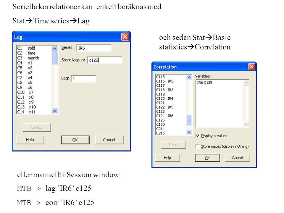 Seriella korrelationer kan enkelt beräknas med Stat  Time series  Lag och sedan Stat  Basic statistics  Correlation eller manuellt i Session window: MTB > lag 'IR6' c125 MTB > corr 'IR6' c125