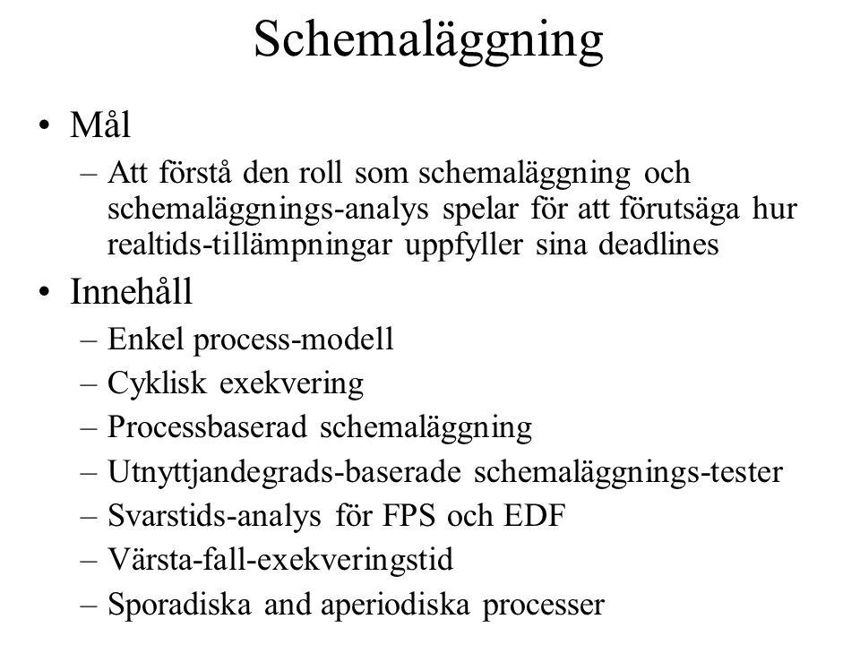 Schemaläggning Mål –Att förstå den roll som schemaläggning och schemaläggnings-analys spelar för att förutsäga hur realtids-tillämpningar uppfyller sina deadlines Innehåll –Enkel process-modell –Cyklisk exekvering –Processbaserad schemaläggning –Utnyttjandegrads-baserade schemaläggnings-tester –Svarstids-analys för FPS och EDF –Värsta-fall-exekveringstid –Sporadiska and aperiodiska processer