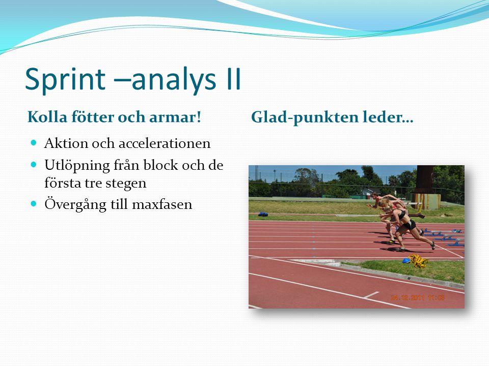 Sprint-analys III Levande fötter Vart är löparen på väg Kraftfulla steg Bestämda armar Blicken framåt Linjär löpning Ingen rotation Ingen vridning Axlarnas läge