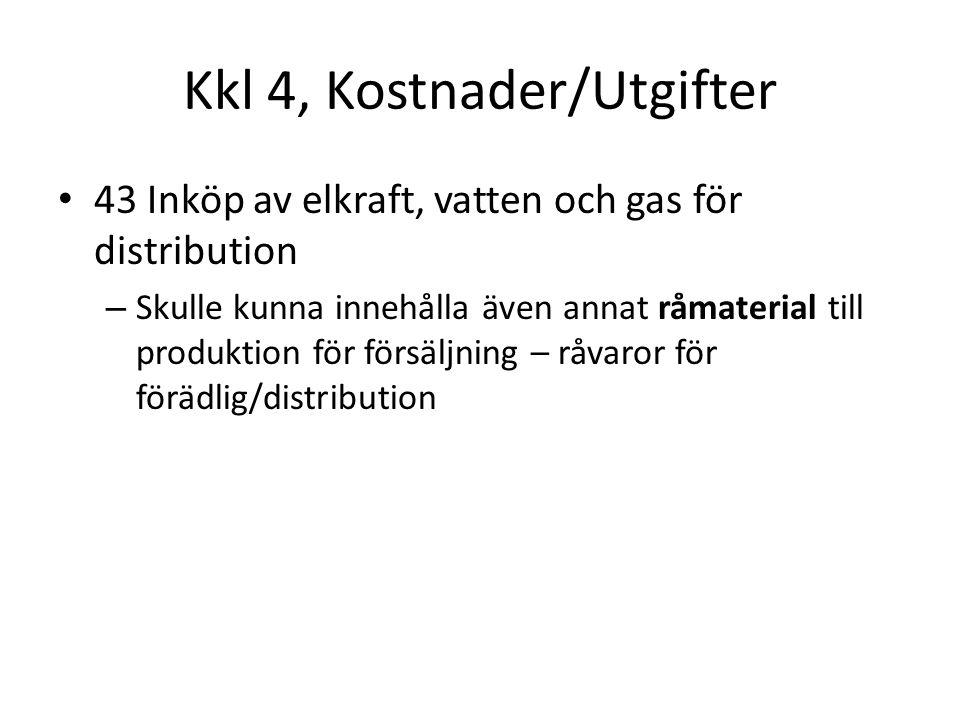 Kkl 4, Kostnader/Utgifter 43 Inköp av elkraft, vatten och gas för distribution – Skulle kunna innehålla även annat råmaterial till produktion för försäljning – råvaror för förädlig/distribution