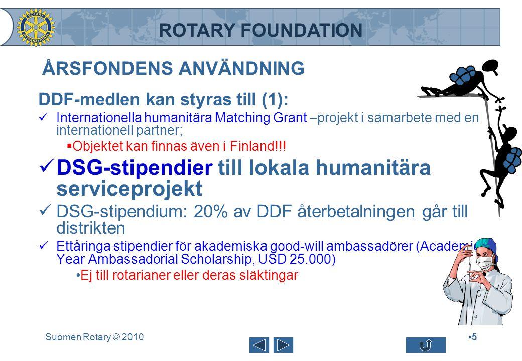 ROTARY FOUNDATION ÅRSFONDENS ANVÄNDNING DDF-medlen kan styras till (1): Internationella humanitära Matching Grant –projekt i samarbete med en internat