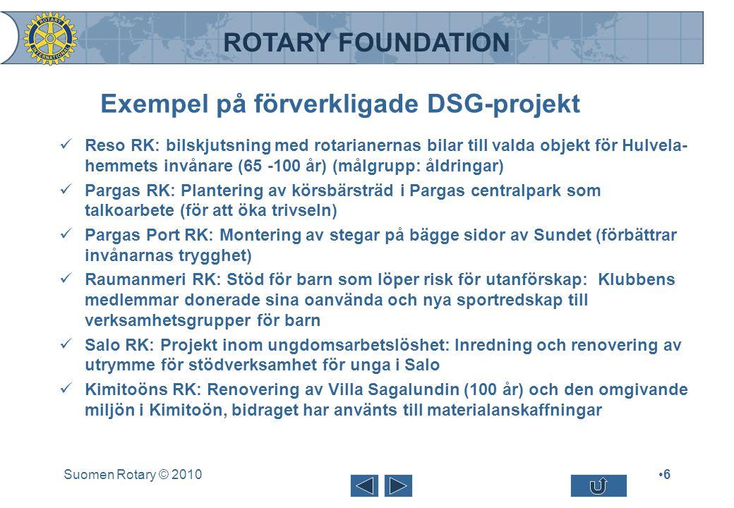 ROTARY FOUNDATION Exempel på förverkligade DSG-projekt Reso RK: bilskjutsning med rotarianernas bilar till valda objekt för Hulvela- hemmets invånare