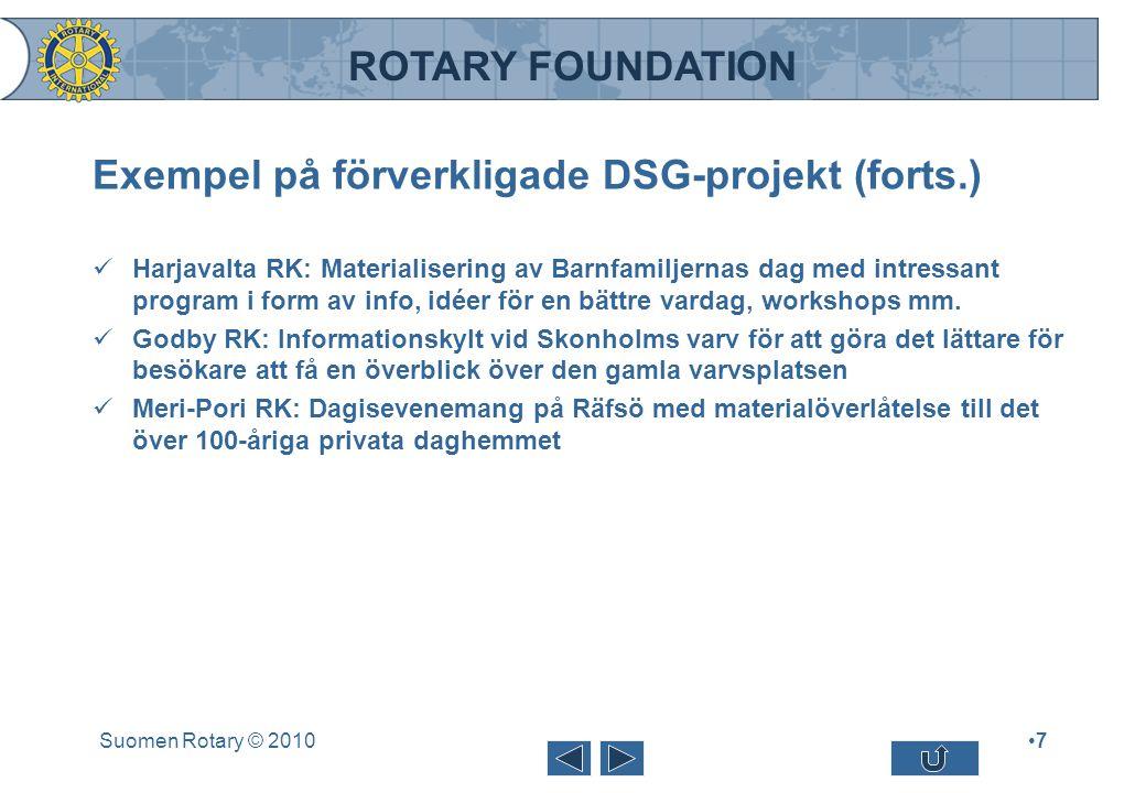ROTARY FOUNDATION Exempel på förverkligade DSG-projekt (forts.) Harjavalta RK: Materialisering av Barnfamiljernas dag med intressant program i form av
