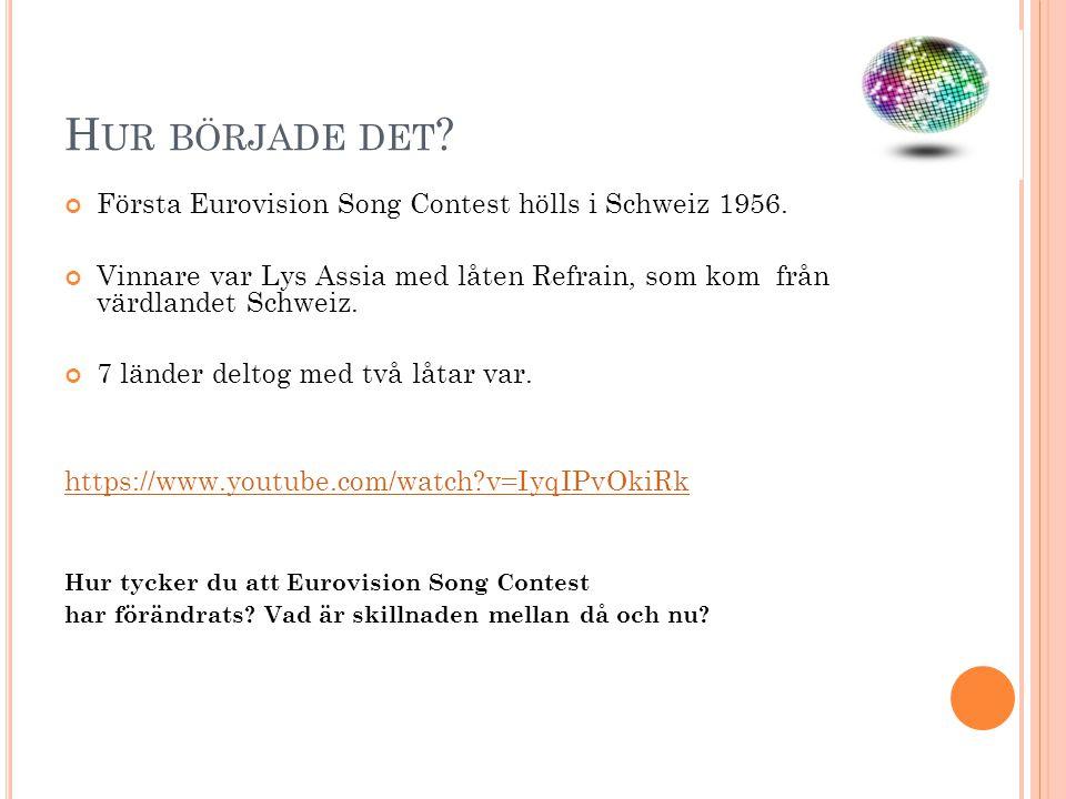 H UR BÖRJADE DET ? Första Eurovision Song Contest hölls i Schweiz 1956. Vinnare var Lys Assia med låten Refrain, som kom från värdlandet Schweiz. 7 lä