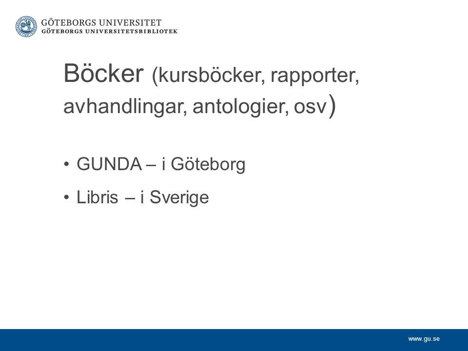 www.gu.se Böcker (kursböcker, rapporter, avhandlingar, antologier, osv ) GUNDA – i Göteborg Libris – i Sverige