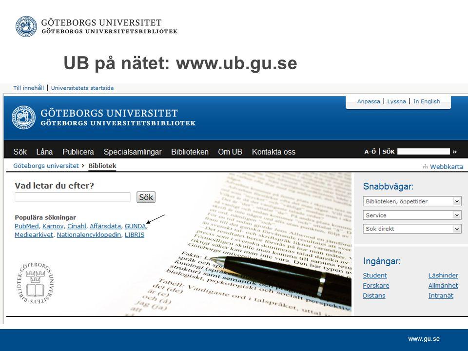 www.gu.se UB på nätet: www.ub.gu.se