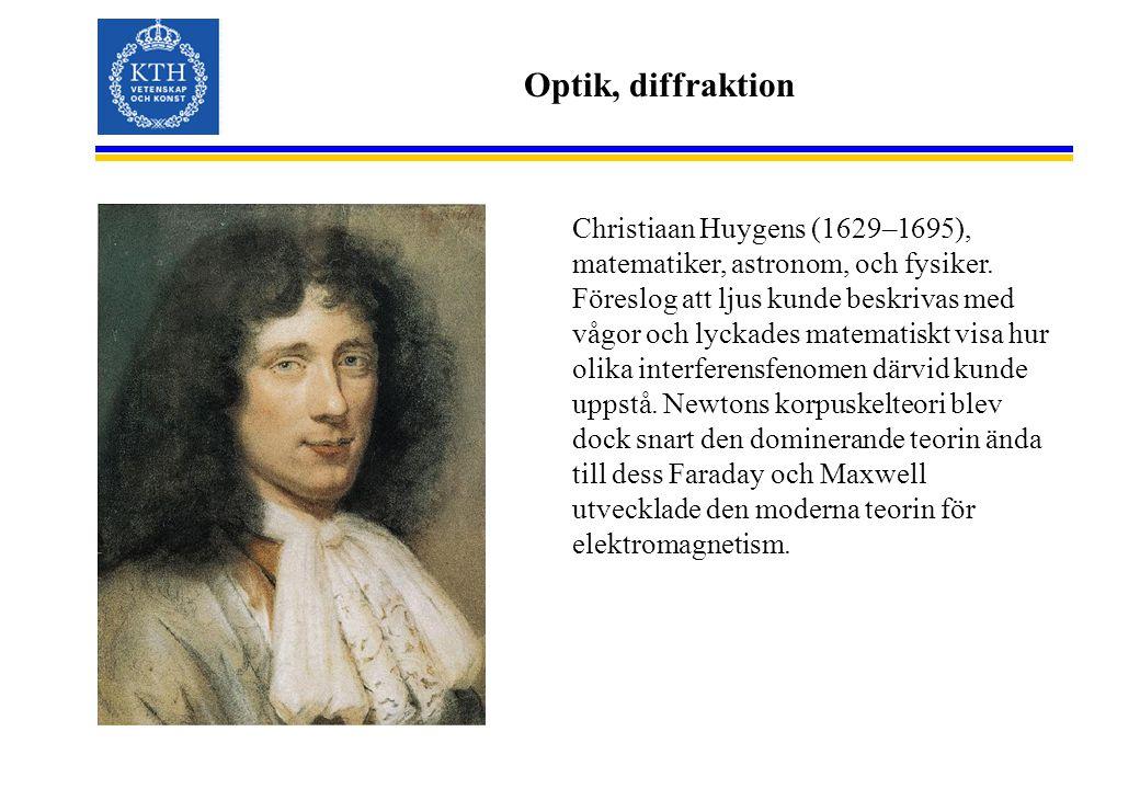 Optik, diffraktion Christiaan Huygens (1629–1695), matematiker, astronom, och fysiker. Föreslog att ljus kunde beskrivas med vågor och lyckades matema