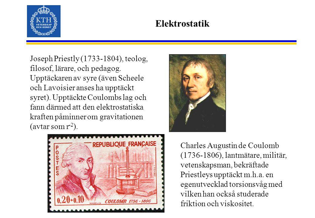 Elektrostatik Joseph Priestly (1733-1804), teolog, filosof, lärare, och pedagog. Upptäckaren av syre (även Scheele och Lavoisier anses ha upptäckt syr