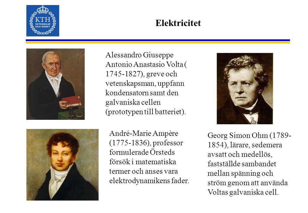 Elektricitet Alessandro Giuseppe Antonio Anastasio Volta ( 1745-1827), greve och vetenskapsman, uppfann kondensatorn samt den galvaniska cellen (proto