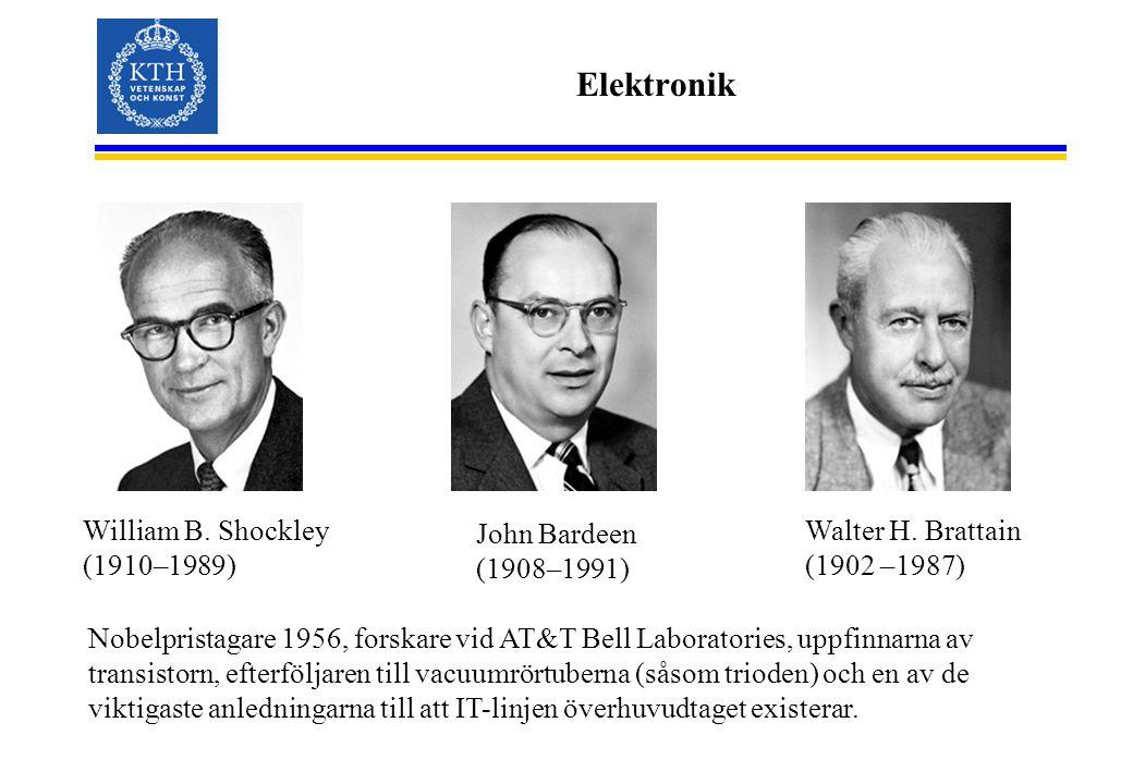 Elektronik William B. Shockley (1910–1989) John Bardeen (1908–1991) Walter H. Brattain (1902 –1987) Nobelpristagare 1956, forskare vid AT&T Bell Labor