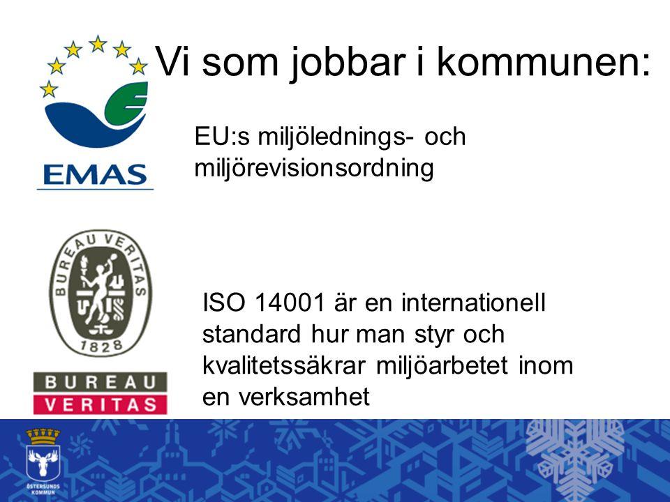 ISO 14001 är en internationell standard hur man styr och kvalitetssäkrar miljöarbetet inom en verksamhet EU:s miljölednings- och miljörevisionsordning