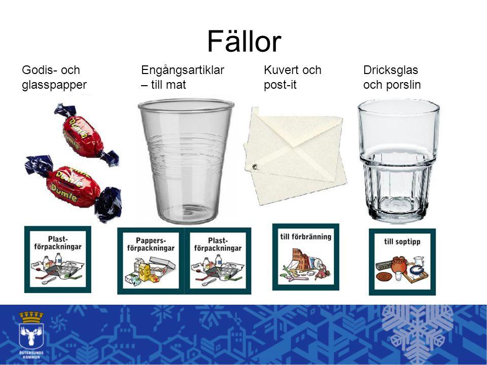 Fällor Kuvert och post-it Dricksglas och porslin Godis- och glasspapper Engångsartiklar – till mat