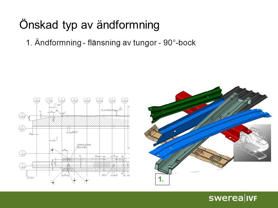 Önskad typ av ändformning 1. Ändformning - flänsning av tungor - 90°-bock 1.