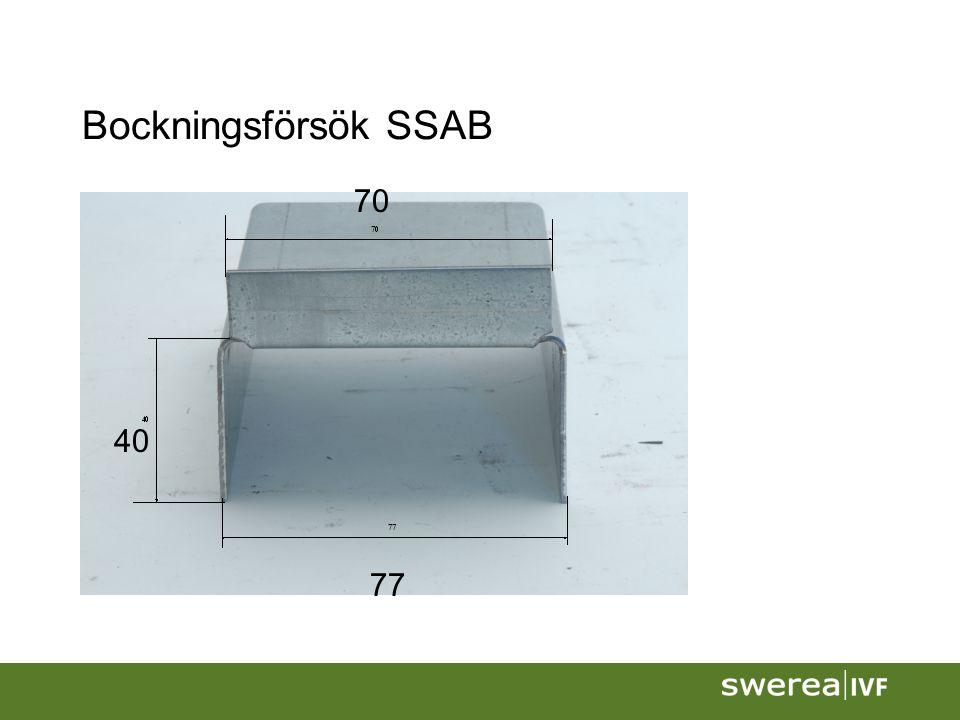 Bockningsförsök SSAB 40 70 77