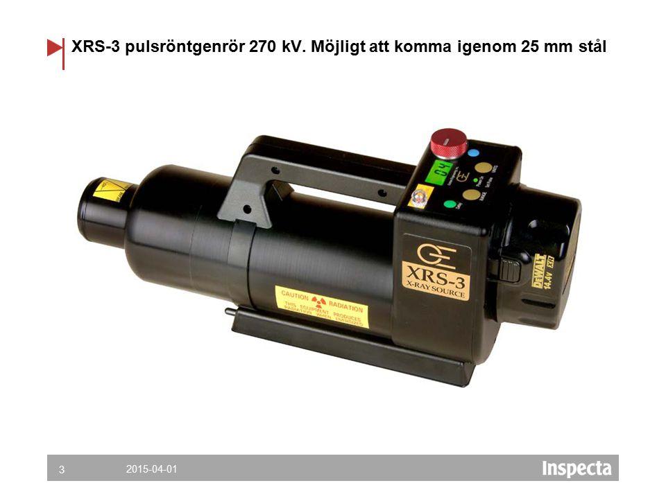 XRS-3 pulsröntgenrör 270 kV. Möjligt att komma igenom 25 mm stål 2015-04-01 3