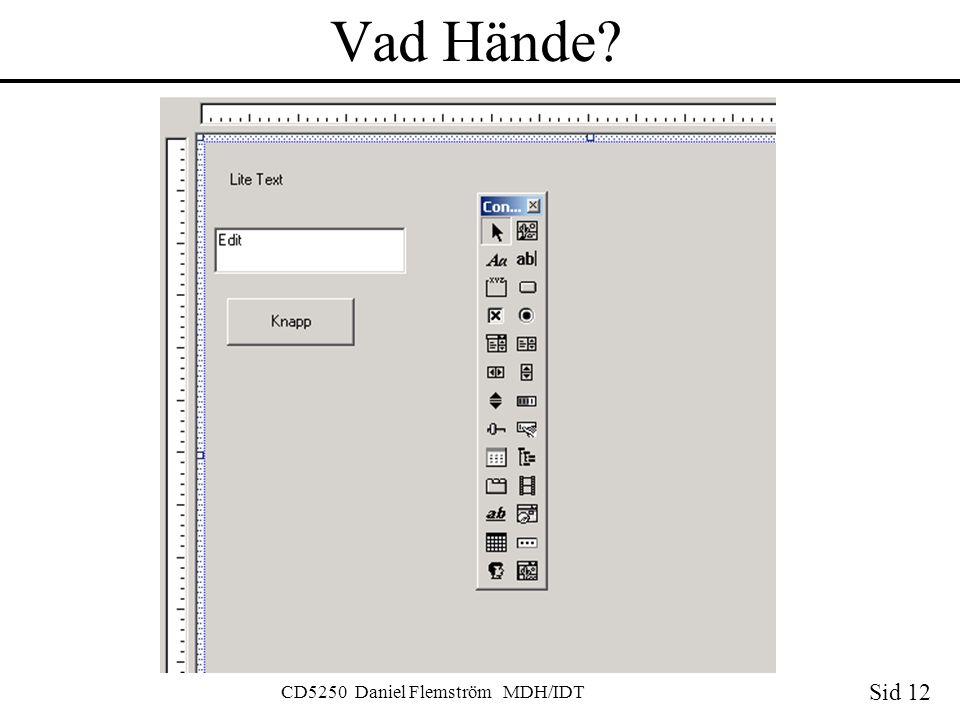 Sid 12 CD5250 Daniel Flemström MDH/IDT Vad Hände?