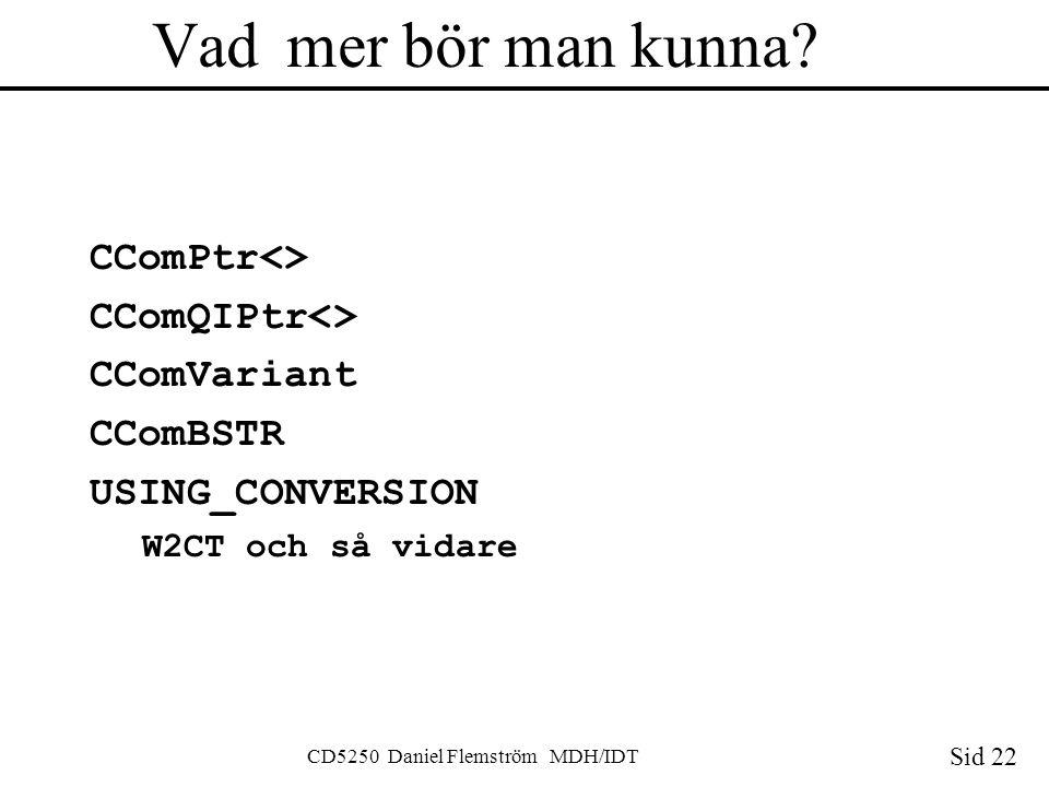 Sid 22 CD5250 Daniel Flemström MDH/IDT Vad mer bör man kunna.