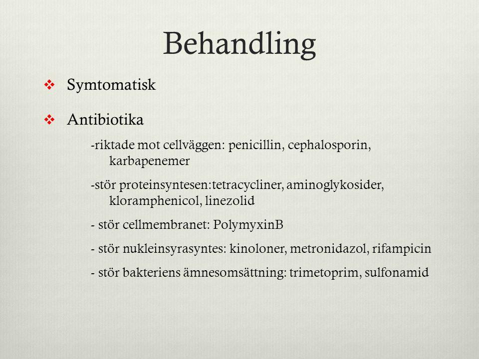 Behandling  Symtomatisk  Antibiotika -riktade mot cellväggen: penicillin, cephalosporin, karbapenemer -stör proteinsyntesen:tetracycliner, aminoglyk