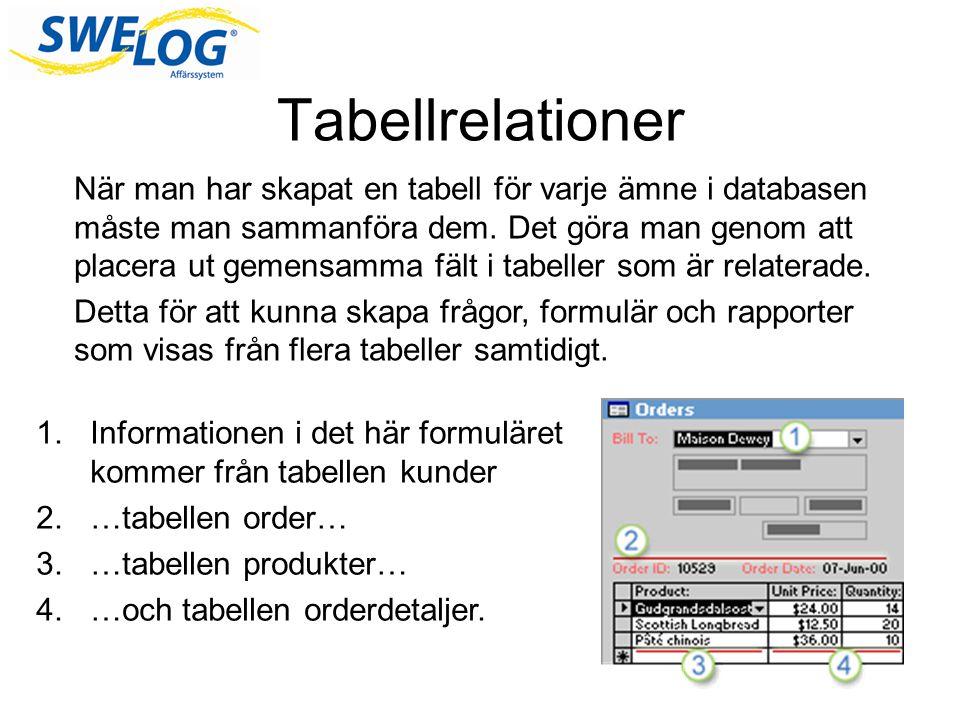 Hur gör man tabellrelationer En tabellrelation skapas genom att data i två tabeller matchas i nyckelfält.