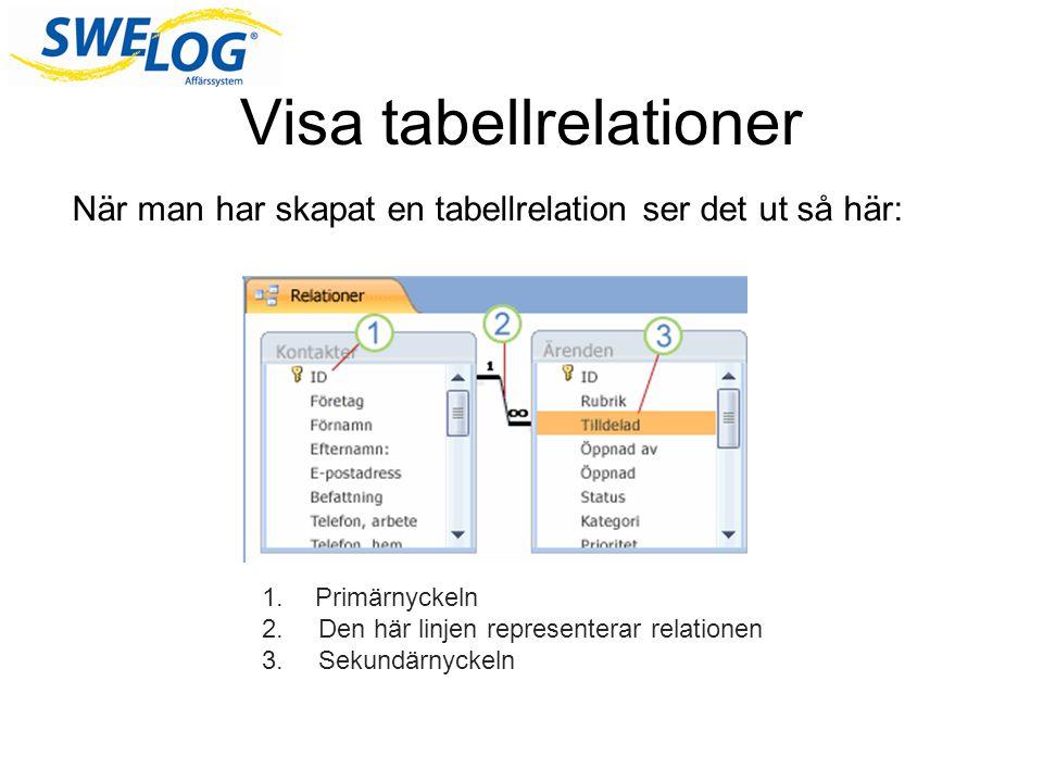 Skapa, redigera och ta bort en tabellrelation Man kan skapa en tabellrelation på flera olika sätt.