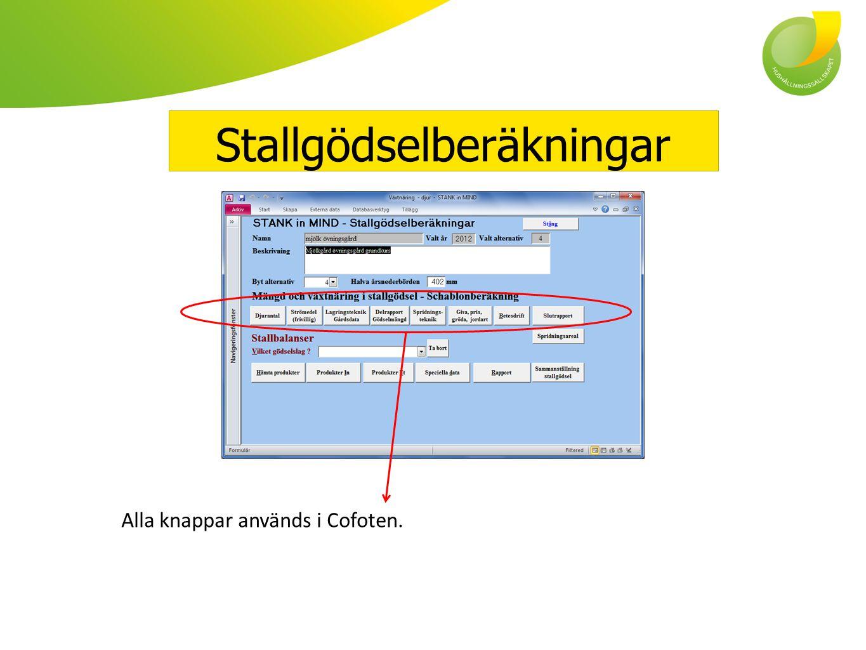 Stallgödselberäkningar Alla knappar används i Cofoten.