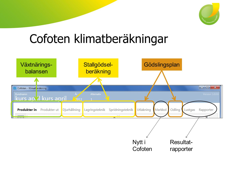 Cofoten klimatberäkningar Växtnärings- balansen Stallgödsel- beräkning Gödslingsplan Resultat- rapporter Nytt i Cofoten