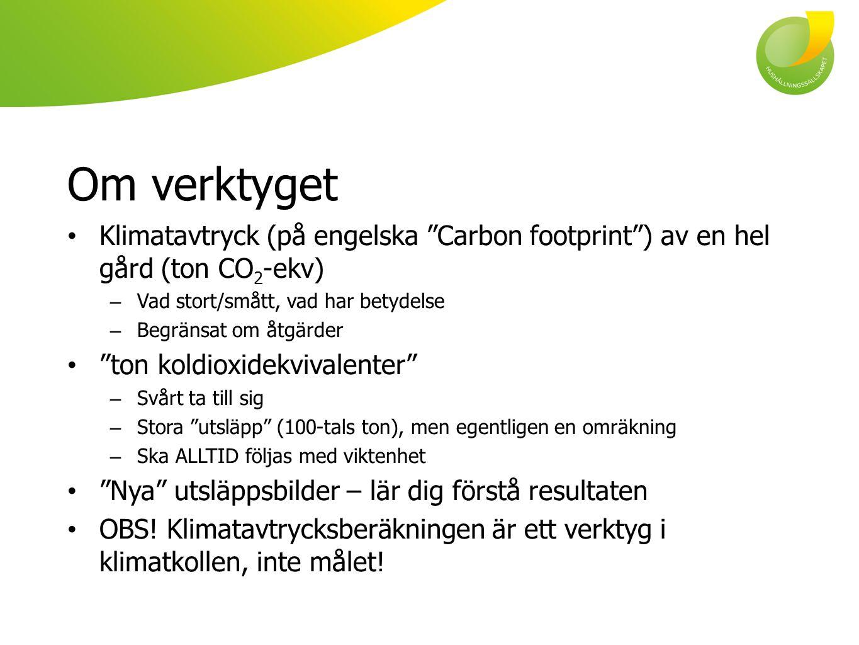 """Om verktyget Klimatavtryck (på engelska """"Carbon footprint"""") av en hel gård (ton CO 2 -ekv) – Vad stort/smått, vad har betydelse – Begränsat om åtgärde"""