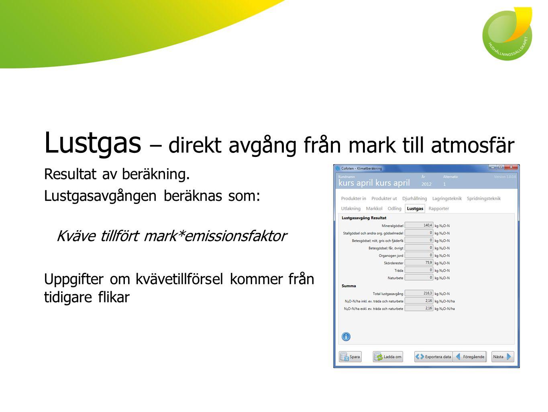 Lustgas – direkt avgång från mark till atmosfär Resultat av beräkning. Lustgasavgången beräknas som: Kväve tillfört mark*emissionsfaktor Uppgifter om