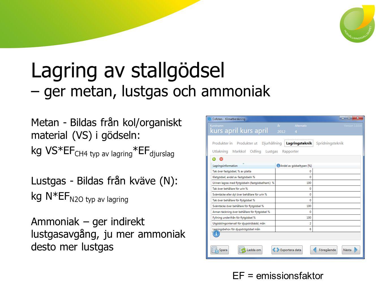 Lagring av stallgödsel – ger metan, lustgas och ammoniak Metan - Bildas från kol/organiskt material (VS) i gödseln: kg VS*EF CH4 typ av lagring *EF dj