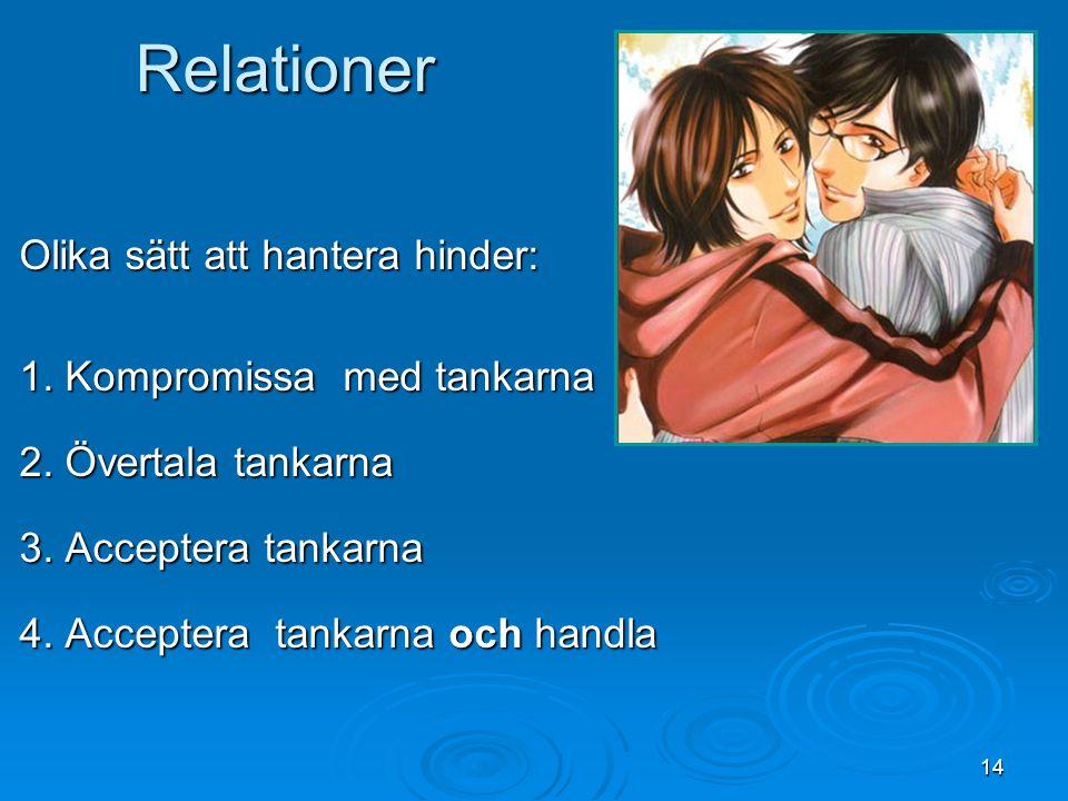 14 Relationer Olika sätt att hantera hinder: 1. Kompromissa med tankarna 2. Övertala tankarna 3. Acceptera tankarna 4. Acceptera tankarna och handla