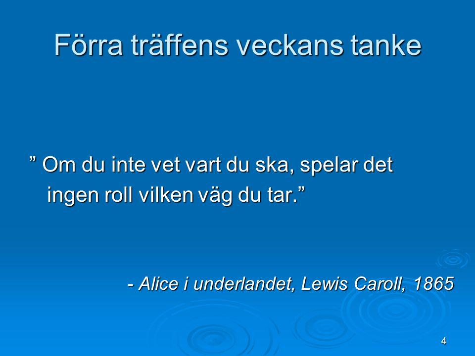 """4 Förra träffens veckans tanke """" Om du inte vet vart du ska, spelar det ingen roll vilken väg du tar."""" - Alice i underlandet, Lewis Caroll, 1865"""