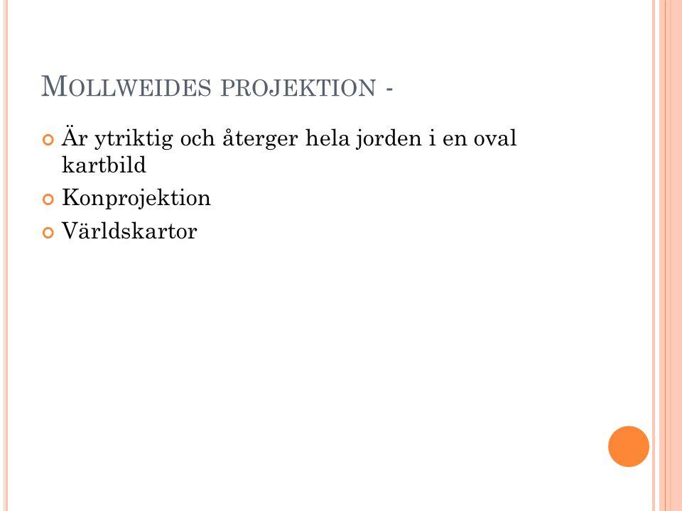 M OLLWEIDES PROJEKTION - Är ytriktig och återger hela jorden i en oval kartbild Konprojektion Världskartor
