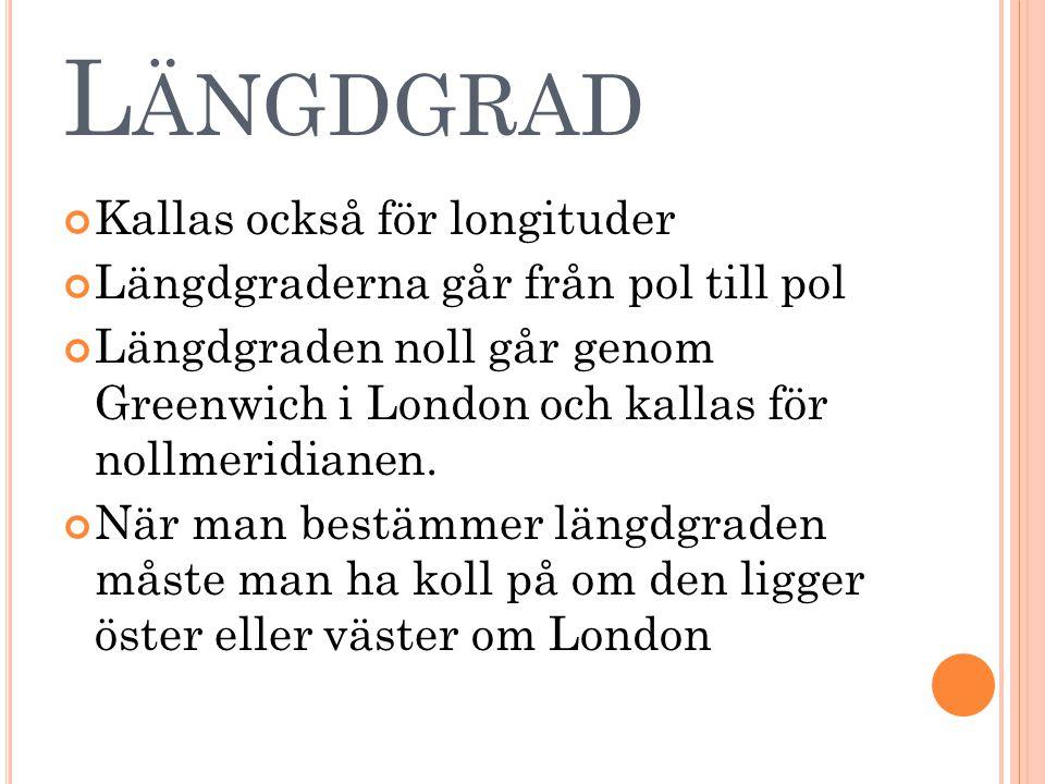 L ÄNGDGRAD Kallas också för longituder Längdgraderna går från pol till pol Längdgraden noll går genom Greenwich i London och kallas för nollmeridianen