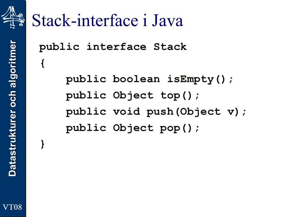 Datastrukturer och algoritmer Stack-interface i Java public interface Stack { public boolean isEmpty(); public Object top(); public void push(Object v