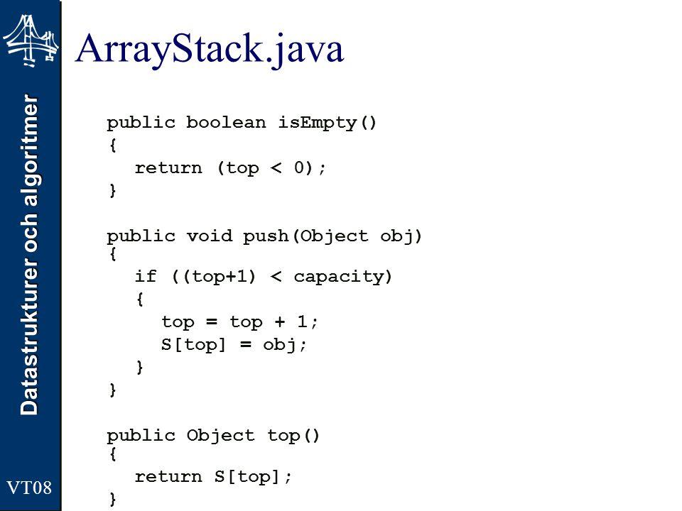 Datastrukturer och algoritmer ArrayStack.java public boolean isEmpty() { return (top < 0); } public void push(Object obj) { if ((top+1) < capacity) {