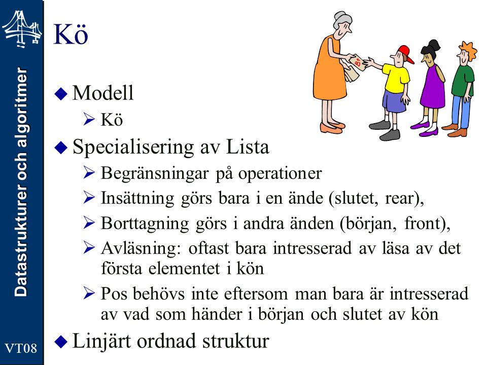 Datastrukturer och algoritmer Kö  Modell  Kö  Specialisering av Lista  Begränsningar på operationer  Insättning görs bara i en ände (slutet, rear