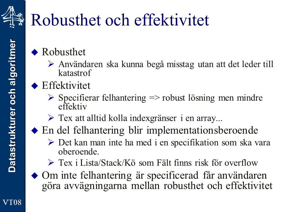 Datastrukturer och algoritmer Robusthet och effektivitet  Robusthet  Användaren ska kunna begå misstag utan att det leder till katastrof  Effektivi