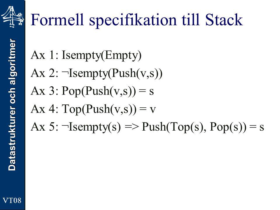 Datastrukturer och algoritmer Formell specifikation till Stack Ax 1: Isempty(Empty) Ax 2: ¬Isempty(Push(v,s)) Ax 3: Pop(Push(v,s)) = s Ax 4: Top(Push(